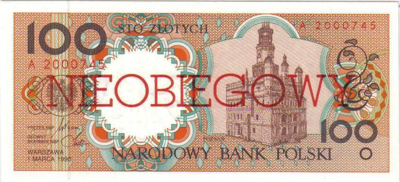 100 złotych 1990 – Poznań
