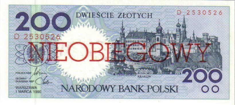 200 złotych 1990 – Kraków